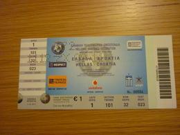 Greece-Croatia Euro 2012 Qualyfing Round Game Football Match Ticket Stub 07/10/2011 - Tickets & Toegangskaarten