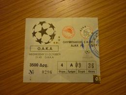 Olympiakos-Ajax UEFA Champions League Game Football Match Ticket Stub 21/10/1998 - Tickets & Toegangskaarten