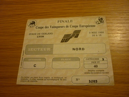 Atletico Madrid-Dynamo Kiev UEFA European Cup Winner's Cup Final Game Football Match Ticket Stub 02/05/1986 - Tickets & Toegangskaarten