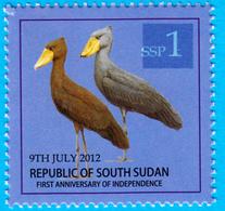 SOUTH SUDAN  Overprint Unadopted Proof On 1 SSP Birds Stamp, Blue Overlay Withou New Value Südsudan Soudan Du Sud - Zuid-Soedan