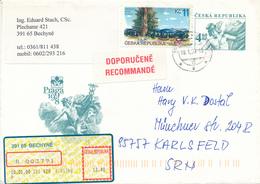TSCHECHEI / BECHYNE  -  2000  ,  Praga 98  -  Ganzsachenumschlag Per Einschreiben Nach München - Ganzsachen