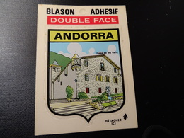 Blason écusson Adhésif Autocollant Double Face Andorra, Maison Des Vallées Coat Of Arms Sticker Adesivo Adhesivo - Obj. 'Remember Of'