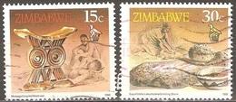 Zimbabwe - 1990 - Appui-tête En Bois Sculpté Et Pierre à Broyer Le Grain - YT 198 Et 203 Oblitérés - Zimbabwe (1980-...)