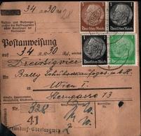 ! 1944 Postanweisung Deutsches Reich, Oberlungwitz, Sachsen , Nach Wien, Bally Schuhe, Zusammendrucke - Covers & Documents