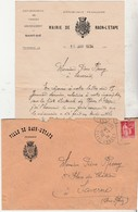 1934 / Enveloppe + Courrier Mairie Raon L'Etape (blason) / Inscription Listes électorales / 88 Vosges - France