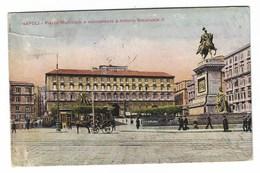 3754 - NAPOLI PIAZZA MUNICIPIO E MONUMENTO A VITTORIO EMANUELE II ANIMATA 1924 - Napoli (Napels)