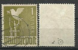 """Allierte Besetzungen Gemeinschaftsausgaben 959d,"""" 1 Mark-Briefmarke I.Farbe Dunkelbräunlicholiv """"gest.,gepr. Mi.: 50,00 - Zona AAS"""