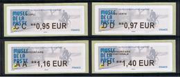 4 ATMS, LISA2, CC 0.95/ DD 0.97/ AA 1.16/ IP 1.40€ , MUSEE DE LA POSTE PARIS TARIF 2020. Facteur Des Années 50. - 2010-... Vignette Illustrate