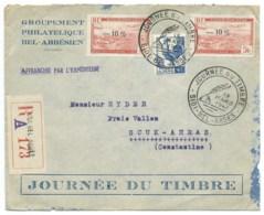 5F ROUGE SURCHARGE -10% SUR ENVELOPPE RECOMMANDEE / SIDI BEL ABBES ALGERIE POUR SOUK AHRAS / 1947 /  JOURNEE DU TIMBRE - Algeria (1924-1962)