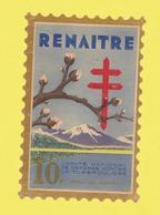 Timbre Vignette érinnophilie Antituberculeux Grand Format  Timbre Auto-vitrine 10 Frs Renaïtre Format Hauteur 14,4 X 9,4 - Commemorative Labels