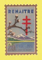 Timbre Vignette érinnophilie Antituberculeux Grand Format  Timbre Auto-vitrine 20 Frs Renaïtre Format Hauteur 14,4 X 9,4 - Commemorative Labels