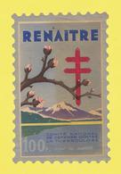 Timbre Vignette érinnophilie Antituberculeux Grand Format Timbre Auto-vitrine 100 Frs Renaïtre Format Hauteur 14,4 X 9,4 - Commemorative Labels
