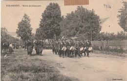 Rare Cpa Rolampont Route De Chaumont Très Animée Militaires Musique En Tête - Autres Communes