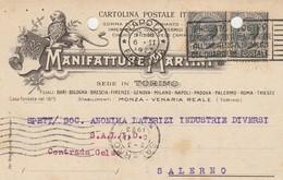 Napoli. 1923. Annullo Meccanico NAPOLI *FERROVIA*, Su Cartolina Postale PUBBLICITARIA - 1900-44 Vittorio Emanuele III