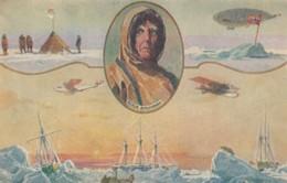Roald Amundsen Norwegian Polar Explorer, Norway Flag, Boats Planes C1930s Vintage Postcard - Altre Celebrità