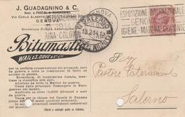 Genova. 1914. Annullo GENOVA FERROVIA , Su Cartolina Postale PUBBLICITARIA - 1900-44 Vittorio Emanuele III