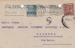Milano. 1920. Annullo Meccanico MILANO PARTENZE , Su Cartolina Postale PUBBLICITARIA - 1900-44 Vittorio Emanuele III