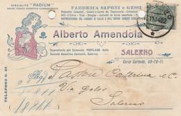 Salerno. 1914. Annullo Guller SALERNO , Su Cartolina Postale PUBBLICITARIA - 1900-44 Vittorio Emanuele III