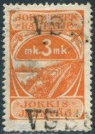 Finland 1918 Jokioisten Jokkis Railway 3 Mk Parcel Stamp STEAM LOCOMOTIVE Train Eisenbahn Paketmarke Chemin De Fer Colis - Trains