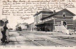 MELLE   Statie Station Train Animée Circulé En 1903 - Melle
