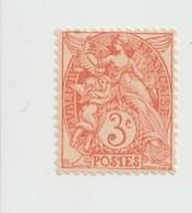 Timbre      -  Type Blanc  -  N° 109 F - 3 C.rouge  Orange (IA) -  Neuf , Gomme D'origine - 1900-29 Blanc