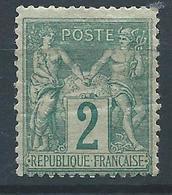 FRANCE - 1876 - Sage Type II - YT N°74 - 2 C. Vert - Neuf* - Bon Etat - 1876-1898 Sage (Type II)