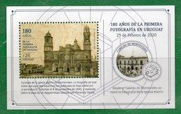 1711a URUGUAY 2020- 1 Hojita Block - 180 A. De La 1º Fotografía- TT: Catedral,Faros,Cámaras De Fotos - Uruguay