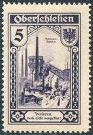 Germany 1922 Oberschlesien Verloren...Upper Silesia Lost...5 Pfg Charity Revenue Coal Mine Railway Train Kohle Eisenbahn - Trains