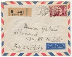 Côte D'Ivoire => Enveloppe Affr. 40f AOF Treich Laplene - Recommandée Depuis ABOISSO - 8 Dec 1955 - Brieven En Documenten