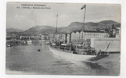 (RECTO / VERSO) NICE EN 1906 - N° 97 - ENTREE DU PORT AVEC SUPERBE BATEAU - BEAU CACHET - CPA VOYAGEE - Transport (sea) - Harbour