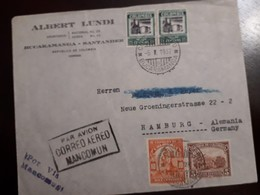 O) 1937 COLOMBIA, ENERGY - PETROLEUM- OIL- SC C98, GOLD MINING SC 439, COFFEE CULTIVATION, AIRMAIL -MANCOMUN, ALBERT LUN - Colombia