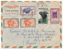 Côte D'Ivoire => Env. Depuis Abidjan - 19?? - Affr Composé Masques - Elephant - Ivory Coast (1960-...)
