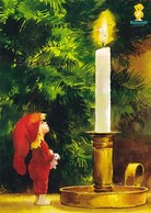 Postal Stationery - Elf Looking At Candle Light - Bird - Bullfinch - Godparents 2014 - Suomi Finland - Postage Paid - Finland