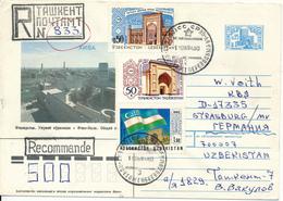 TASCHKENT / USBEKISTAN  -  1994  ,  Ganzsachenumschlag  Mit Zusatzfrankatur Uzbekistan Und Tadzikistan Als R-Brief - Usbekistan