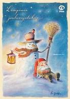 Postal Stationery - Elf Resting - Bullfinch On Hat - Snowman - Plan - Suomi Finland - Postage Paid - Åsa Gustafsson - Postwaardestukken