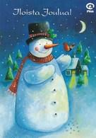 Postal Stationery - Snowman Holding Bird - Bullfinch - Plan - Suomi Finland - Postage Paid - Postwaardestukken