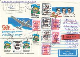 SAMARKAND / USBEKISTAN  - 1993  , Ganzsachenumschlag  , Zusatzfrankatur Und Marken Der UdSSR Mit Aufdruck  Als R-Express - Usbekistan
