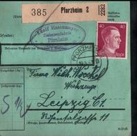 ! 1943 Paketkarte Deutsches Reich, Pforzheim Nach Leipzig, Zusammendrucke Hindenburg - Covers & Documents