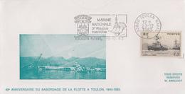 Enveloppe   FRANCE   40éme  Anniversaire  Du  Sabordage  De  LA  FLOTTE  à  TOULON  1983 - Gedenkstempel