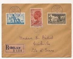 Côte D'Ivoire => Enveloppe Affr. Composé Depuis ABIDJAN 22/9/1944 - Recommandée - Affr Composé - Costa De Marfil (1892-1944)
