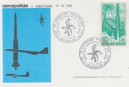 Carte   FRANCE  1ére    Exposition  Philatélique   AEROSPATIALE    SAINT  MEDARD  EN  JALLES   1970 - Philatelic Exhibitions