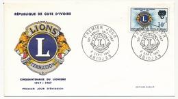 Côte D'Ivoire => Enveloppe FDC - 30f Cinquantenaire Du Lionisme - 2 Sept 1967 - ABIDJAN - Ivory Coast (1960-...)
