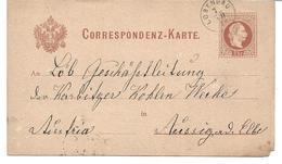 3075e: Altösterreichisches Gebiet 1876, Ganzsache Lobendau, Heute Lobendava - Tchécoslovaquie