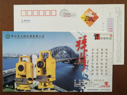 Electronic Theodolite,sydney Harbour Bridge,China 2008 Xinbeiguang Measuring Instrument Company Advert Pre-stamped Card - Brücken