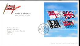 Great Britain 2001 FDC Flags & Ensigns Souvenir Sheet (LA14) - Briefe