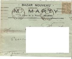 France Hérault Enveloppe En-tête Bazar Nouveau Béziers 1917 - 757 - Marcophilie (Lettres)