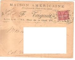 France Nord Enveloppe En-tête Maison Américaine Lille 1906 Via Saint Brieuc - 756 - Marcophilie (Lettres)
