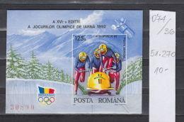 36K74 / 1992 Michel Nr. 270 -  Olympic Games Albertville France Imperf S/S MNH ** Bobsleigh Bobsport Bob , Romania - Blocchi & Foglietti
