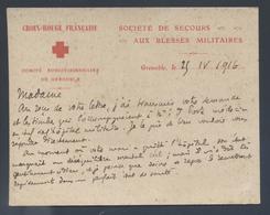 Carte De La Croix Rouge Française Comité De Grenoble Société De Secours Aux Blessés Militaires 1916 Hôpital  A N° 8 - Documents Historiques