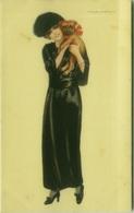 NANNI SIGNED 1910s POSTCARD - WOMAN & DOG - N.300/6 ( BG812) - Nanni